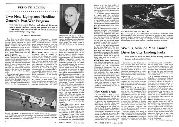 Two New Lightplanes Headline General's Post-war Program, Page: 16 - MAY 15, 1944 | Aviation Week