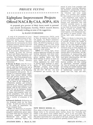 Lightplane Improvement Projects Offered Naca By Caa, Aopa, Aia, Page: 13 - MARCH 25, 1946 | Aviation Week