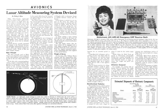 Lunar Altitude Measuring System Devised, Page: 36 - March 5, 1962 | Aviation Week