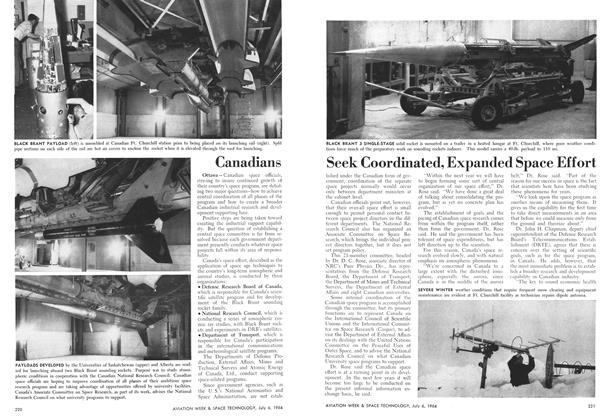 Canadians Seek Coordinated, Expanded Space Effort, Page: 220 - July 6, 1964   Aviation Week