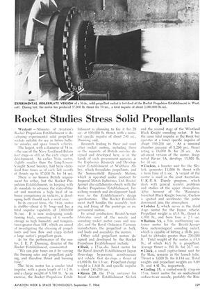 Rocket Studies Stress Solid Propellants, Page: 129 - September 7, 1964   Aviation Week