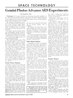 Gemini Photos Advance Aes Experiments, Page: 61 - August 9,1965   Aviation Week