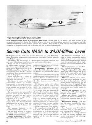 Senate Cuts Nasa to $4.01-billion Level, Page: 22 - June 17, 1968   Aviation Week