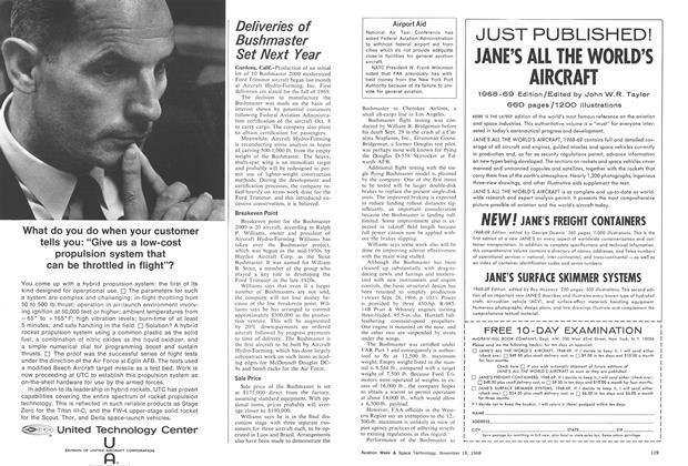 Deliveries of Bushmaster Set Next Year, Page: 128 - November 18, 1968   Aviation Week