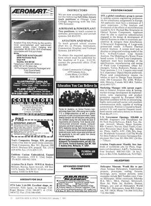 Advertisement, Page: 72 - January 7, 1991 | Aviation Week