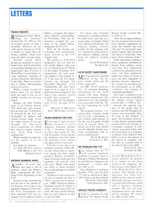 LETTERS, Page: 76 - January 7, 1991 | Aviation Week
