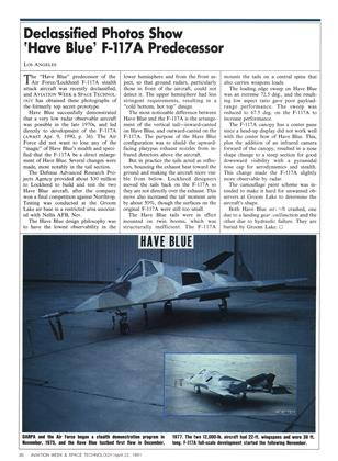 Declassified Photos Show 'have Blue' F-117a Predecessor, Page: 30 - APRIL 22, 1991 | Aviation Week