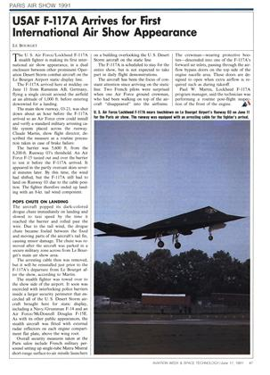 Usaf F-117a Arrives for First International Air Show Appearance, Page: 47 - JUNE 17, 1991 | Aviation Week